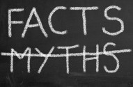 Illustration of chalkboard with text facts and crossed myths