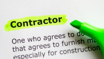 contractor word highlighted on the white background
