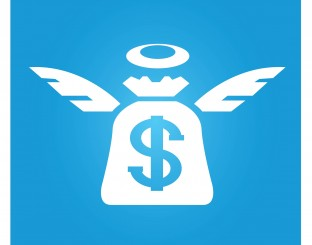 angel investor symbol in blue square button