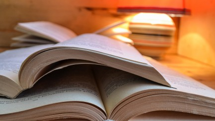 Open book and a table lamp. Open book on the table. A stack of books and a table lamp. Red table lamp and paper books. ** Note: Visible grain at 100%, best at smaller sizes