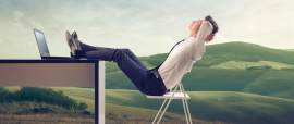 Young businessman relaxing at his desk in the middle of a green