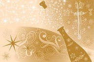 New Year'S Background With Clock And Sparks Of A Champagne